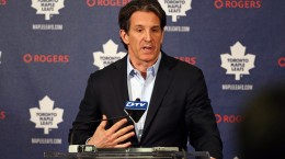 Apr 13, 2015; Toronto, Ontario, Canada; Toronto Maple Leafs president Brendan Shanahan talks to the press during a press conference at Air Canada Centre. Mandatory Credit: Tom Szczerbowski-USA TODAY Sports