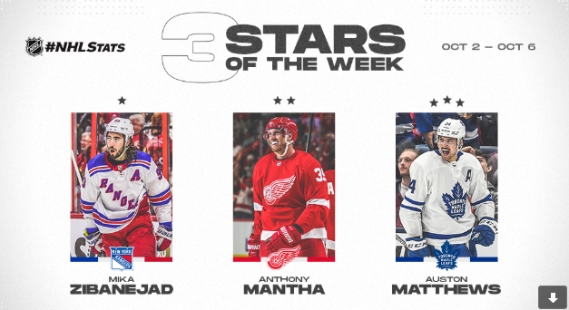 Matthew named NHL 3rd Star of Week