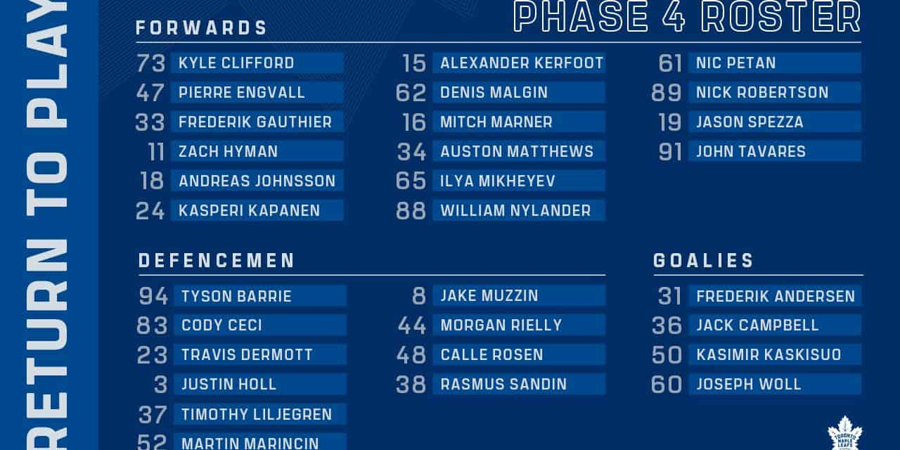 Leafs announce Phase 4 roster